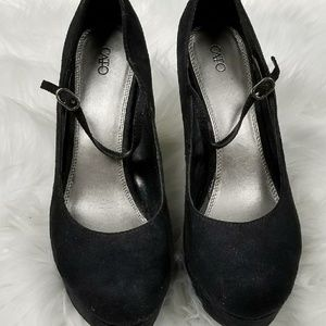 Cato Black Suede Heels with Ankle Strap